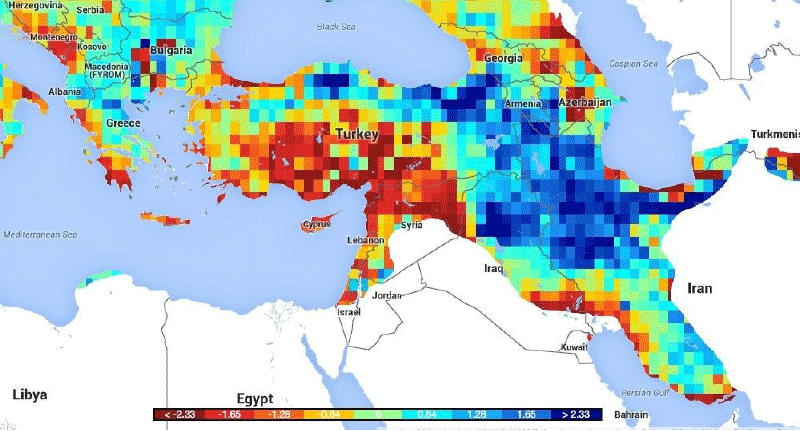 The recent Eastern Mediterranean drought was the most extreme in 900 years, new research suggests. Continuing drought conditions (red) may have contributed to the unrest that preceded the Syrian Civil War. Conditions shown here are for late 2015.