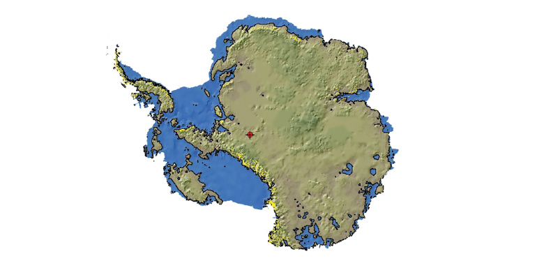 As Antarctica's ice melts, warm seawater will flow through low-lying channels currently filled with ice and accelerate further melting. An ice-free Antarctica (beige area) would leave less land above sea level (blue shows footprint of current continent).