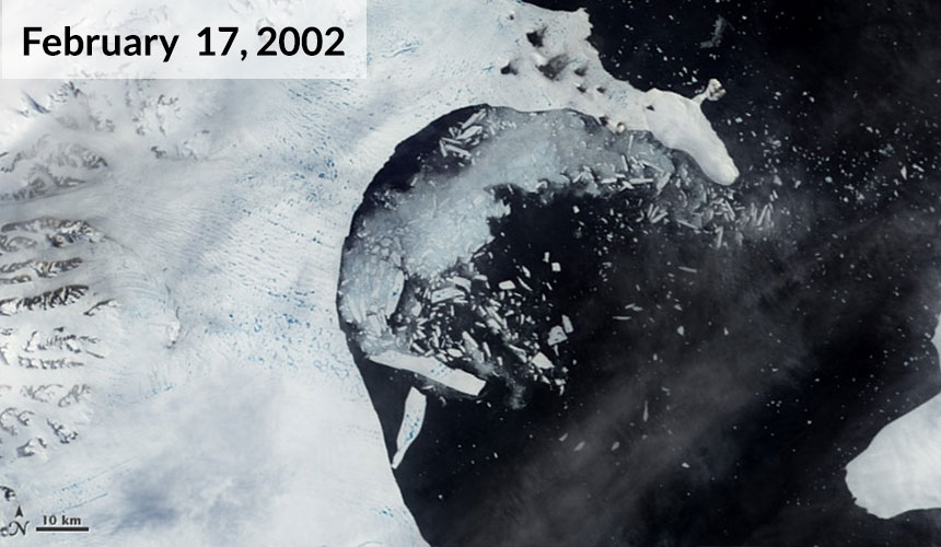 By February 17, the leading edge of the shelf had retreated 10 kilometers and the ice began to splinter.