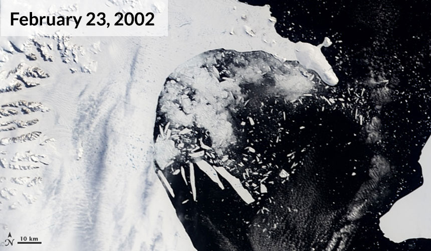 Several more massive icebergs fractured from the ice shelf by February 23.