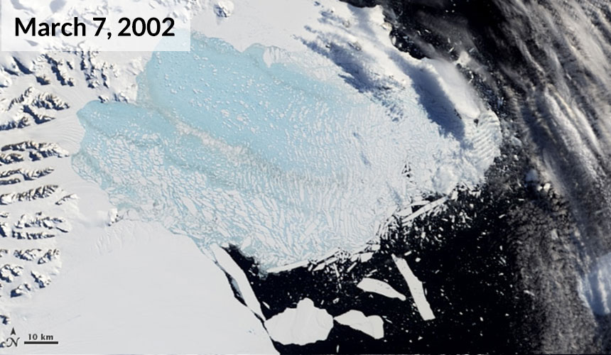 A satellite image captured March 7 revealed a mixture of slush and icebergs.