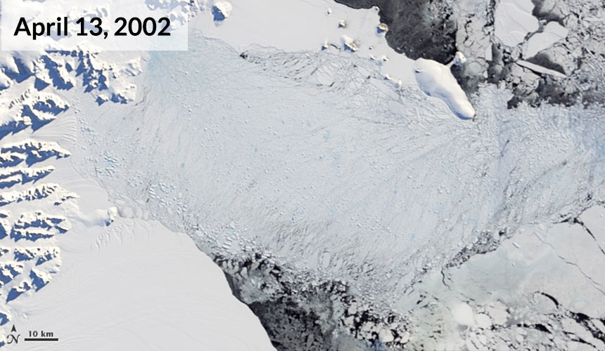 As cold autumn temperatures arrived, white snow fell on the remnants of the ice shelf and, by April 13, fresh sea ice packed into the bay.
