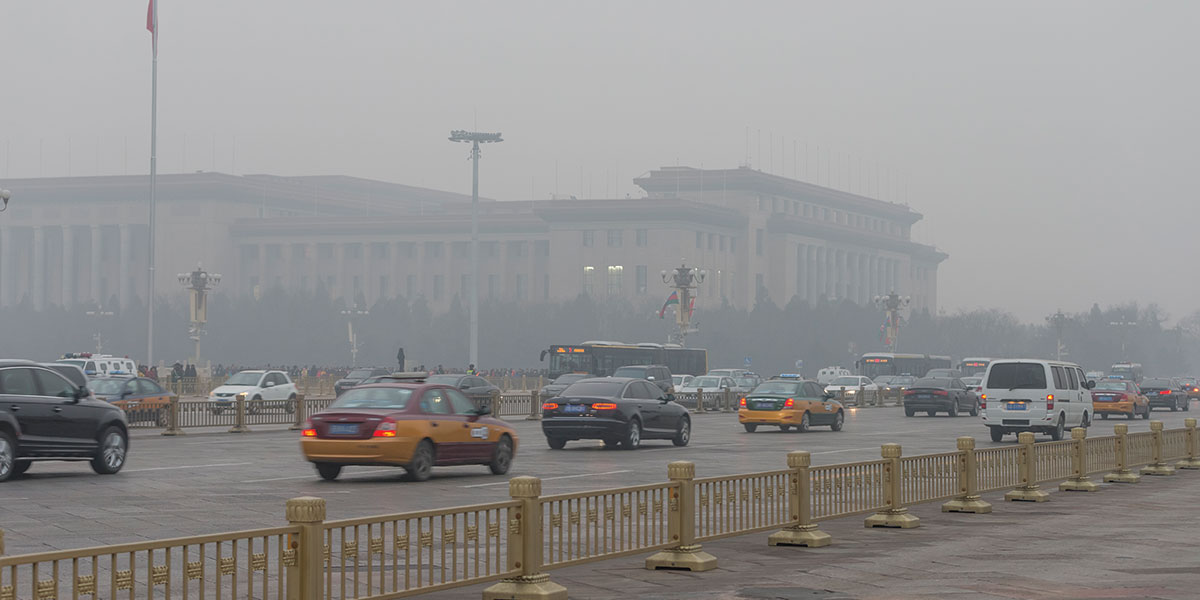 China's cities (Beijing's Tiananmen Square shown) have suffered worsening air quality. Health risks posed by that pollution have motivated the country's government to invest in low-emission alternatives to fossil fuels such as wind, solar and nuclear power.