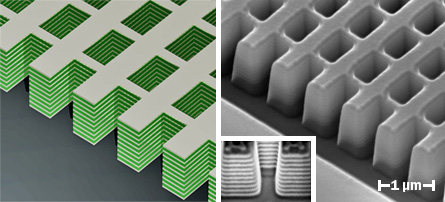 Scientists have revealed two new materials that bend light the way a good invisibility cloak should. This one, shown at left as an artist's impression and at right under an electron microscope, is made of alternating layers of silver and an electrical insulator.