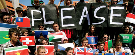 Activists plead for a new agreement during the 2007 U.N. Climate Change Conference. Credit: Jewel Samad/AFP/Getty Images
