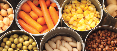 variety of opened canned vegetables