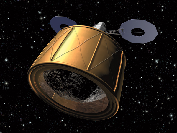 illustration of ARM mission with bag capturing asteroid