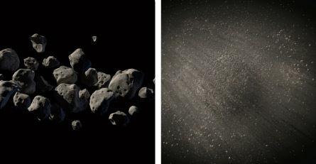 illustration of asteroid formations