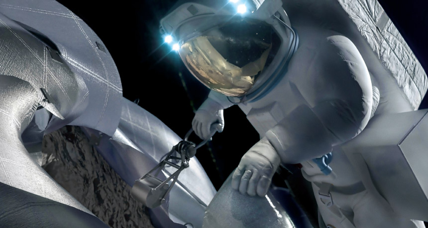 illustration of astronaut sampling an asteroid