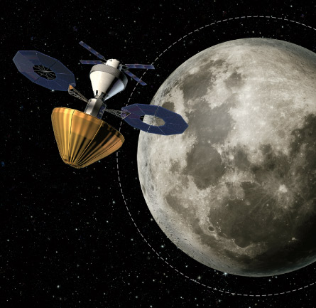 illustration of bagged asteroid in moon orbit