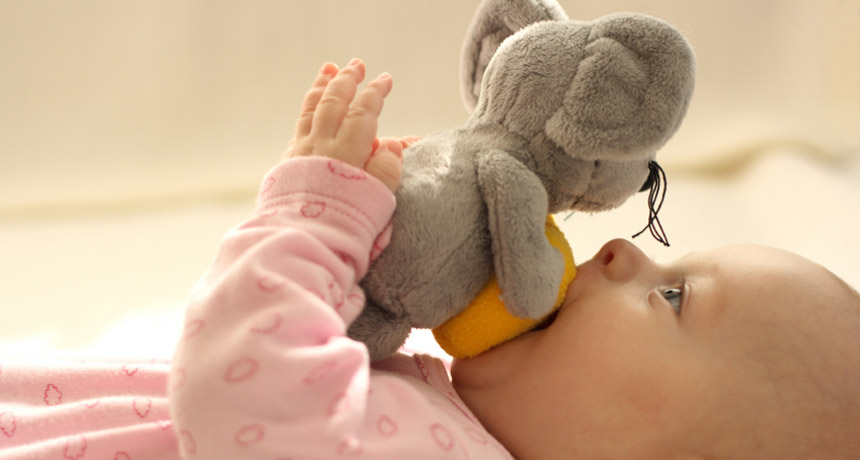 baby with a soft toy