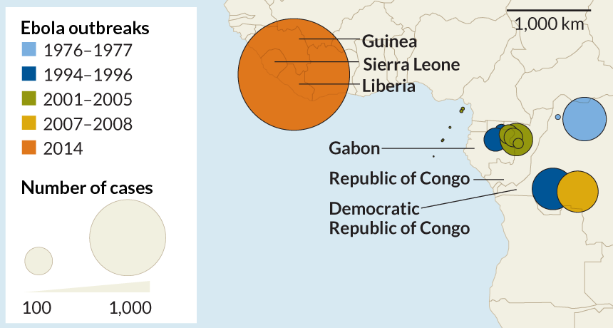 map of the 2014 Ebola outbreak in west Africa