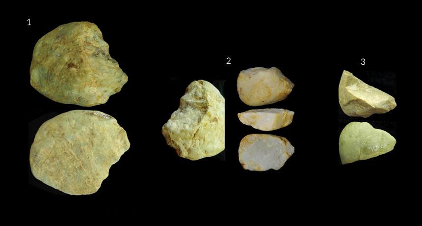 Three simple stone tools