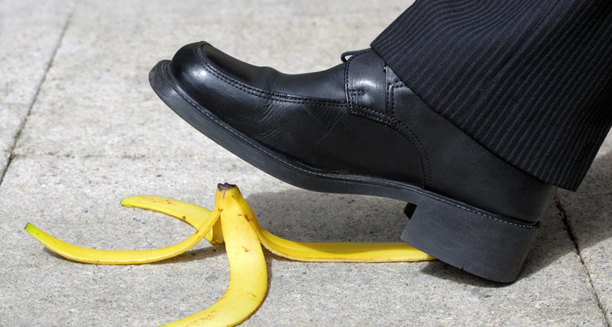 man about to step on a banana peel
