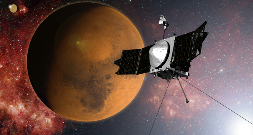 illustration of NASA's MAVEN spacecraft