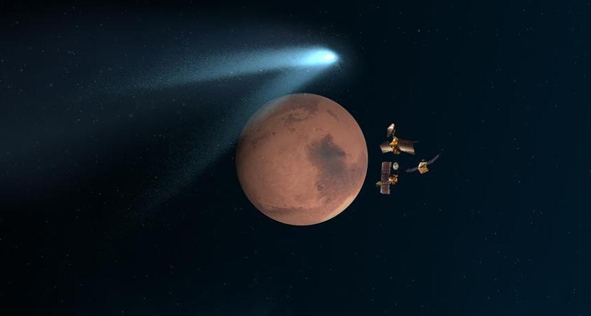 Mars flyby illustration
