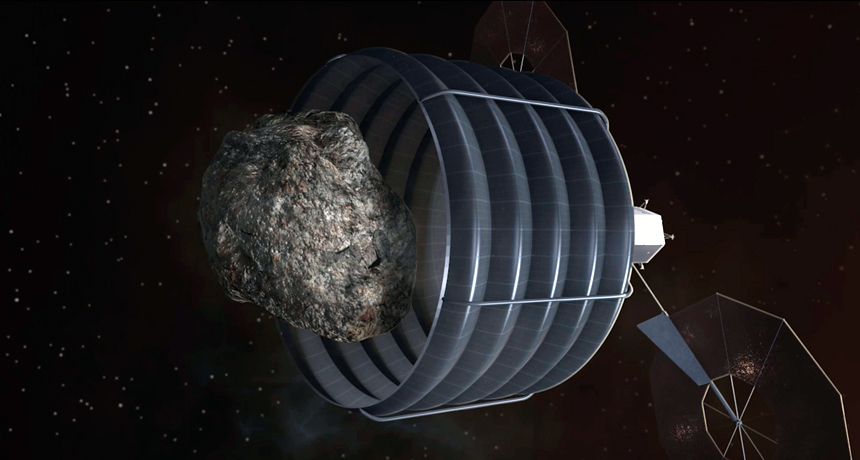 bagging an asteroid, illustration