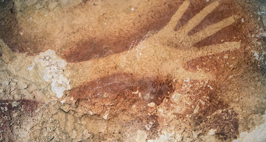 Hand stencils from around 35,000 years ago