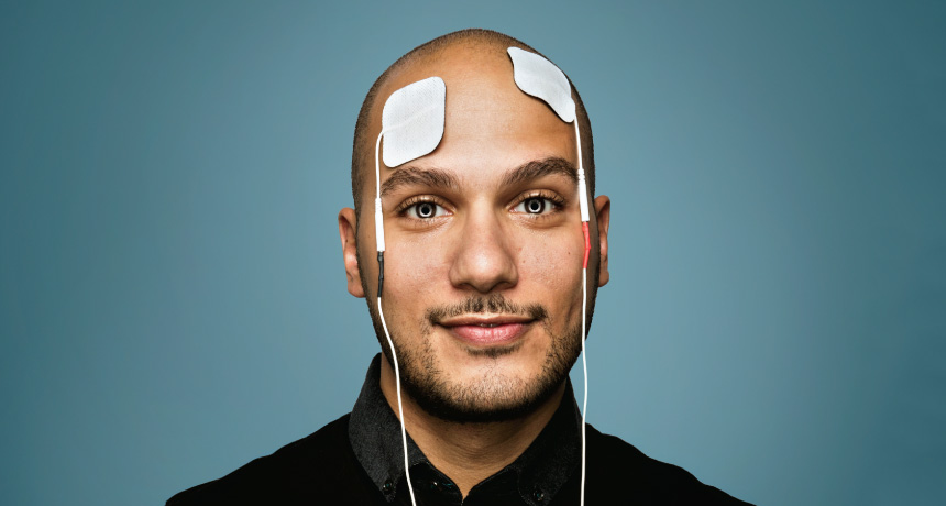 man with electrodes on his head