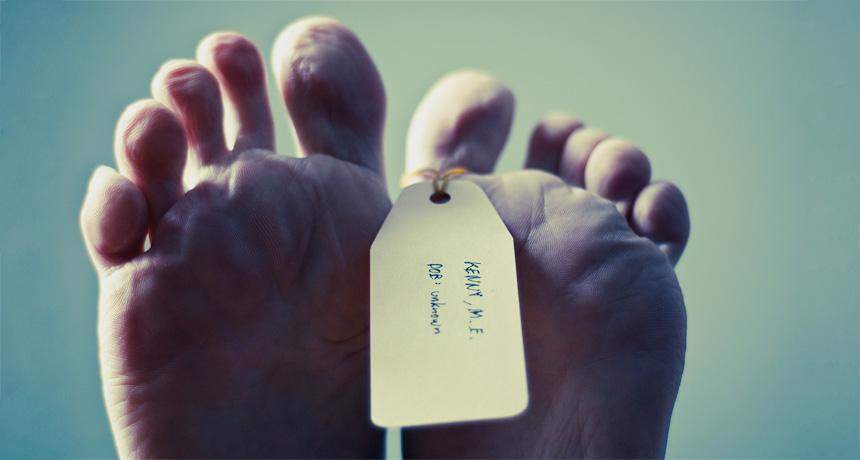feet with toe tag