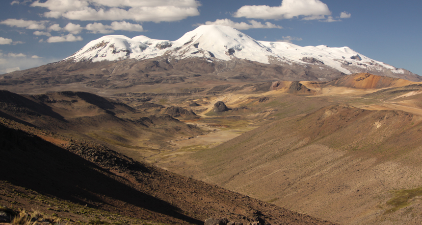 volcano Nevado Coropuna in Peruvian Andes