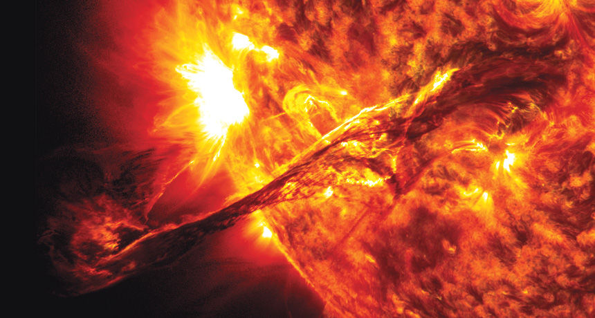 long filament of plasma from sun