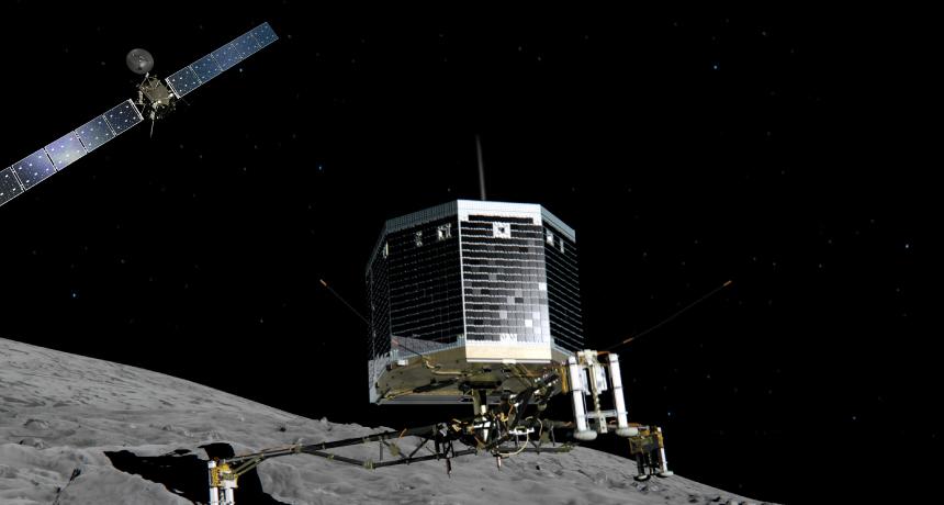 Illustration of lander on surface of comet 67P