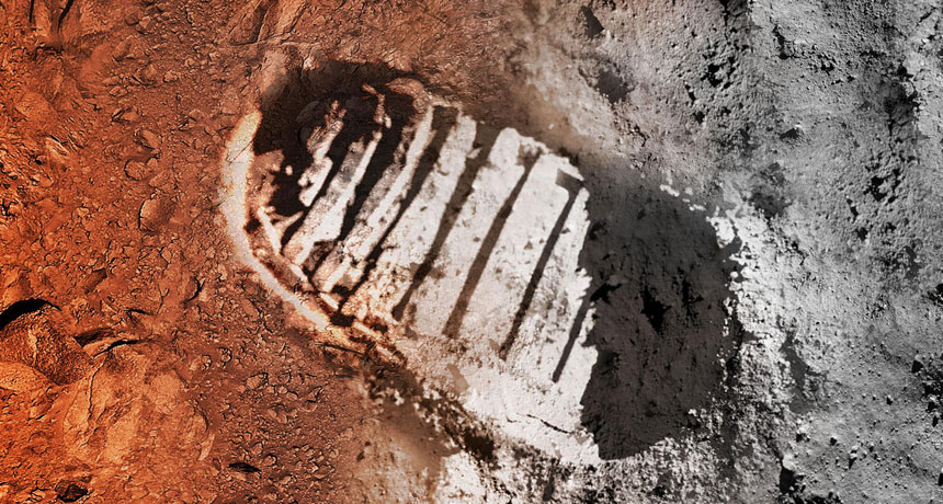 artist's concept of a boot print on moon and Mars