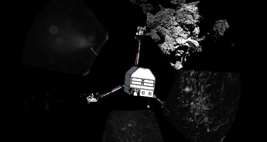 illustration of Philae on actual images of comet 67P