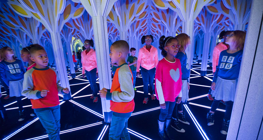 Kids in maze at Museum of Science and Industry in Chicago
