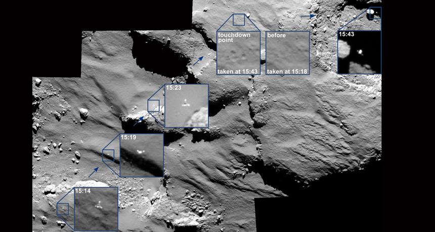 mosaic image of Philae's landing