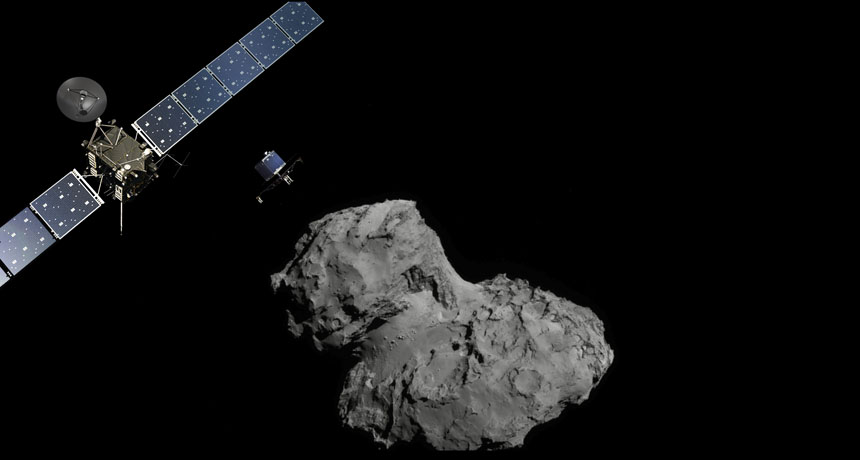 Rosetta and Philae at comet 67P, illustration