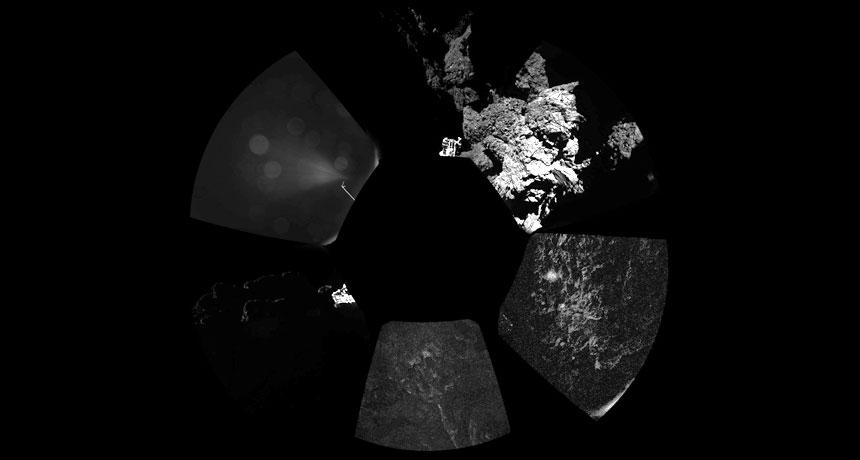 panoramic view of Philae's landing spot