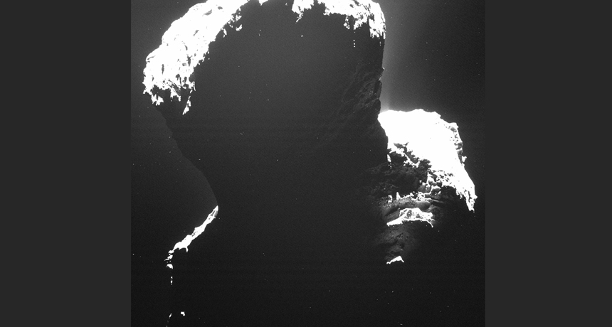 dark side of comet 67P