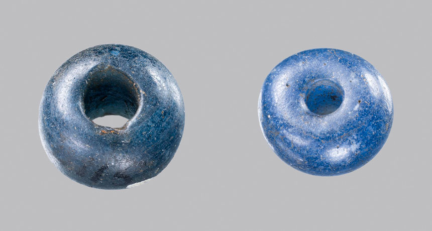 two cobalt-blue glass beads