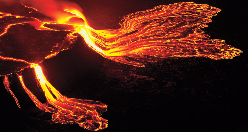 lava flow on Mount Nyiragongo