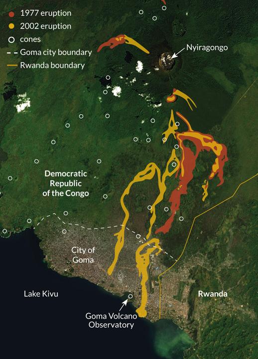 map of Nyiragongo eruptions