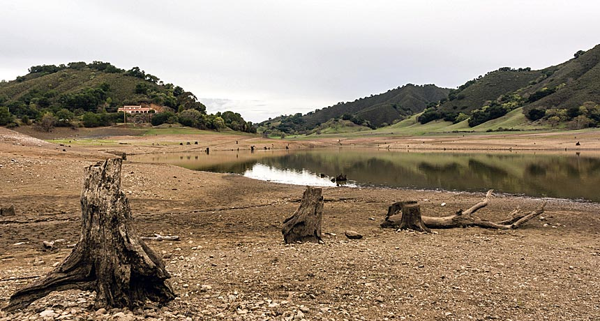 dried reservoir in California