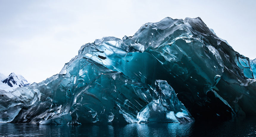 inverted iceberg in Cierva Cove, Antarctica