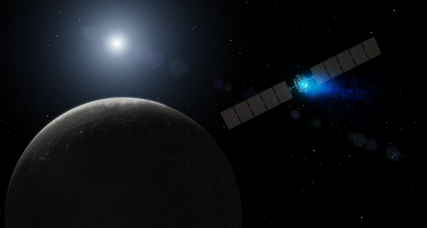 illustration of Dawn spacecraft approaching Ceres