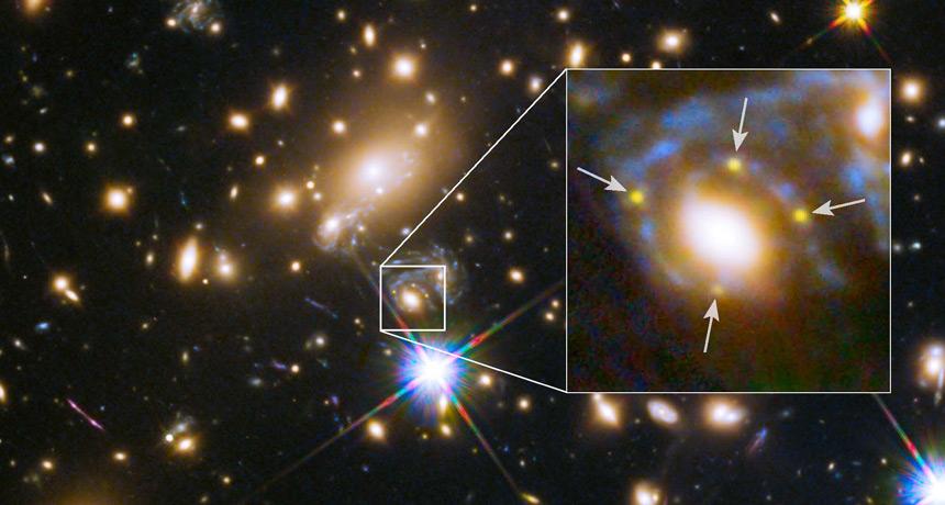 Hubble Space Telescope image of lensed supernova