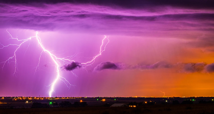 Lightning illuminates the sky during a storm in Weld County, Colo.