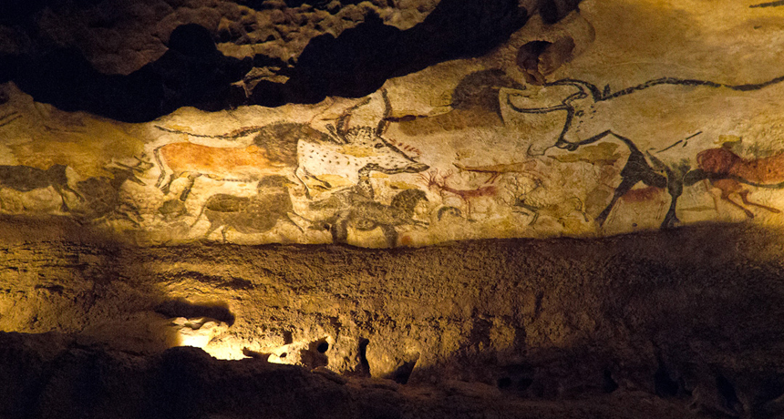 Cave painting of aurochs