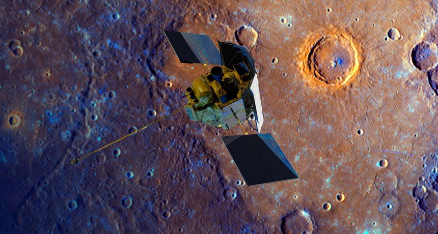 illustration of Messenger over Mercury