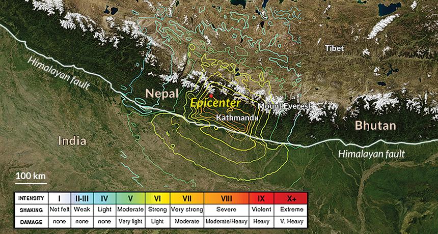 map of Nepal Earthquake