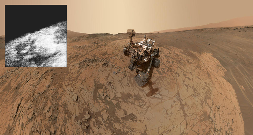 inset of Mars from Mariner, Curiosity selfie