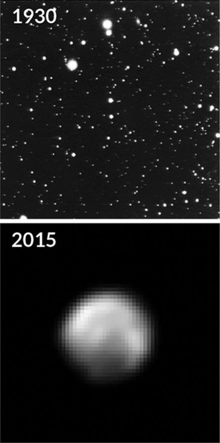 Pluto in 1930 and 2015
