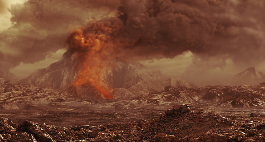 illustration of volcano on venus