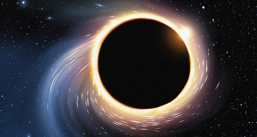 illustration of a ring of light around a black hole