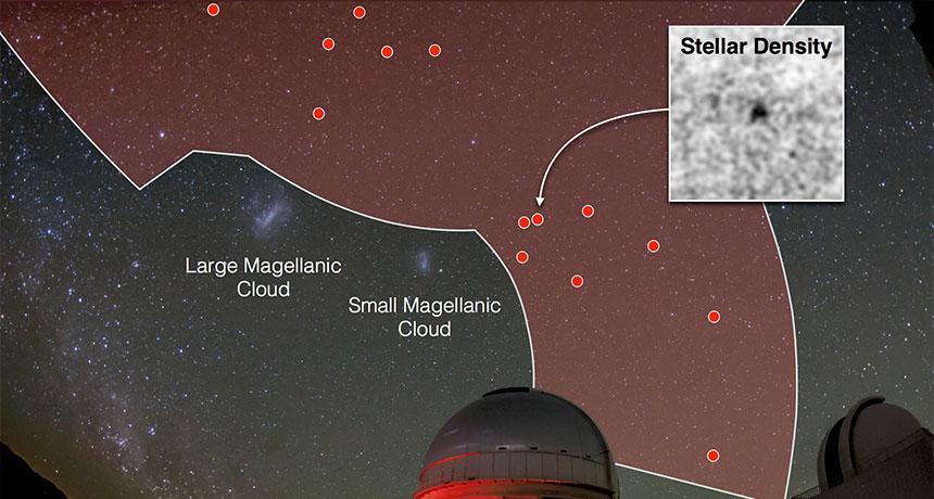 photo illustration of satellite galaxies